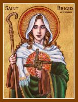 St. Brigid of Ireland icon by Theophilia