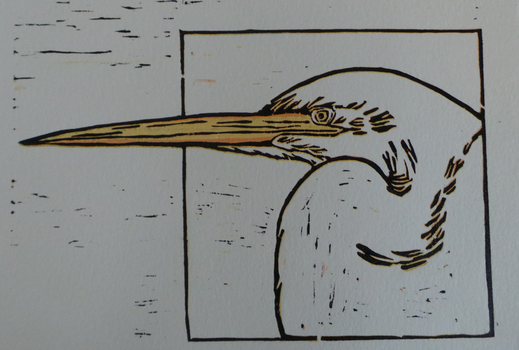Reduction Lino Print of a heron by Silenna86