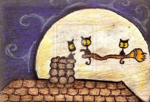 Black Cats On Escape Broom Stick by Darkcloudsabout