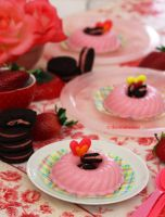 Strawberry Panna Cotta w/ Strawberry Oreo Cookies by theresahelmer