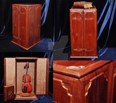 Ornamental violin display bound in leather by TheBookWhisperer