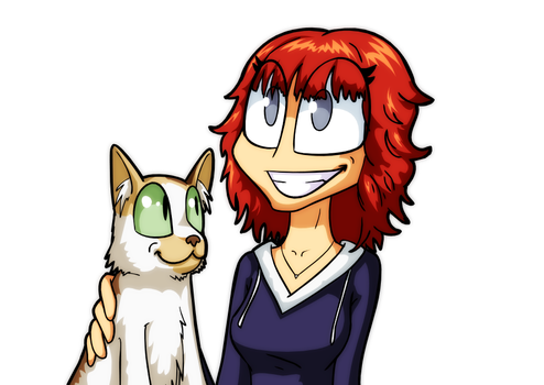 A Girl and Her Cat by Ugovaria