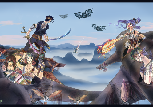 The Chase - SteamPunk Sky Riders by lauramma