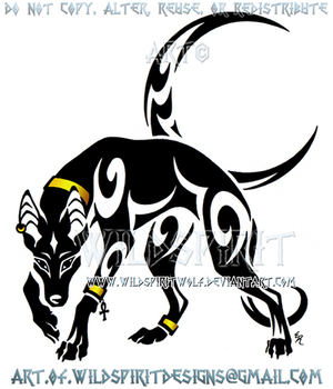 Prowling Anubis And Moon Tribal Design by WildSpiritWolf