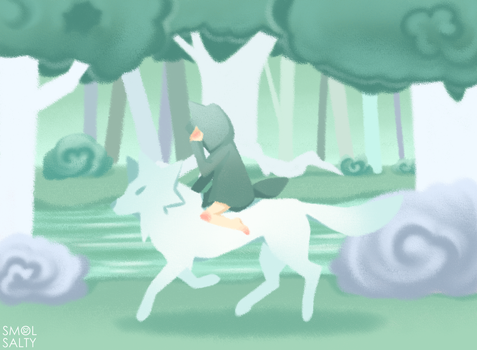 Little Green Riding Wolf by SmolSalty