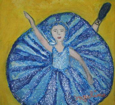 blue ballerina with glitter by ingeline-art