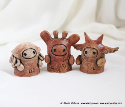 3 OOAK Small kindly cute Spirits by vavaleff