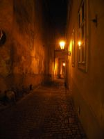 Alley in Prague by night by remmy77
