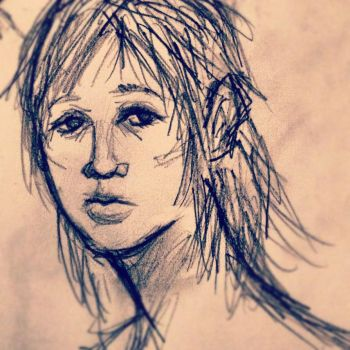 Doodle of a woman by GrimAltair24