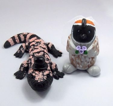 Gila Monster and Quail Wedding Cake Topper by HeartshapedCreations