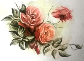 Watercolour exercise 03. Roses. by milesboard