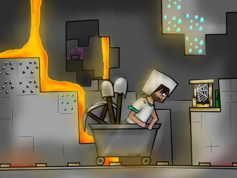 Steve in the mines by SFComics