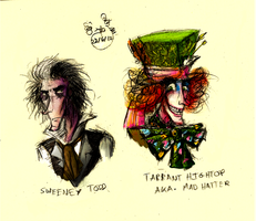 Sweeney Todd and The Mad Hatter by frisca-freak