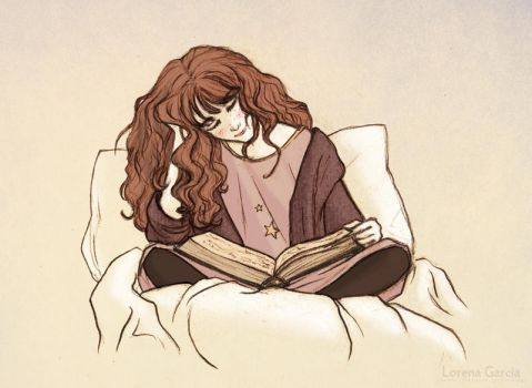 Hermione Reading before Bed by Simbelmina
