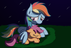 two friends under the moonlight by RedEnchilada