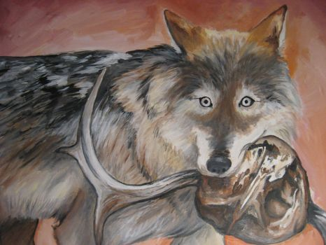 Wolf with Skull by MonkeyFingers