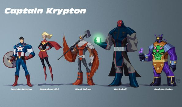 Captain Krypton Line Up by EricGuzman