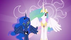 Luna and Celestia Wallpaper by uxyd