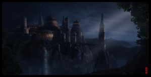 Night castle by Byzwa-Dher