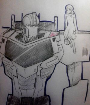 Optimus and Elena (TF-RID) by Gweey