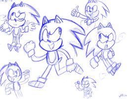 Sonic sketch by PaperBagHero