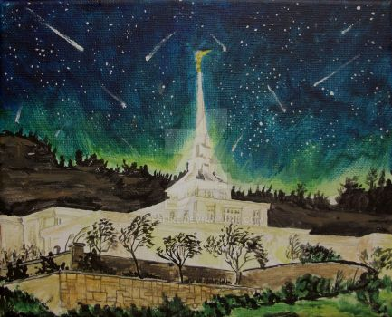 Meteor Shower over Billings, Montana LDS Temple by Ridesfire
