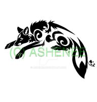 ::leaping fox tribal:: by Ashenee