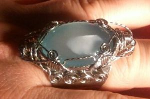 Blue Chalcedony stainless Steel Mid Evil Ring by BESTGEM4U