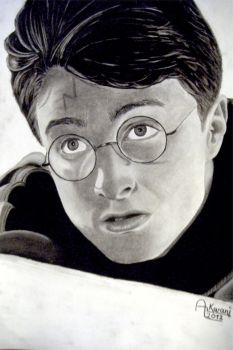Harry potter charcoal portrait drawing by Red-Flash-Art