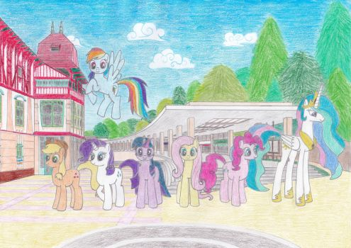 Ponies at the colonnade by Tails-CZ