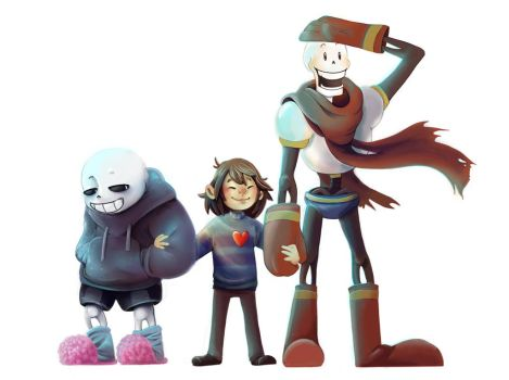 Pacifist bros (and Frisk!) by TinyVelo