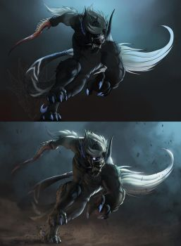 Wolf Demon - Before After - 30 Minutes Overpaint by SkavenZverov