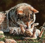 Wolf Mother and Pup by EsthervanHulsen