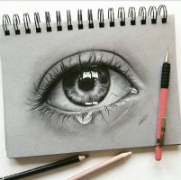 crying eye study by Tinesdierportretten