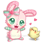 FREE Strawberry Bunny Snuggly (Page Doll) by Sarilain
