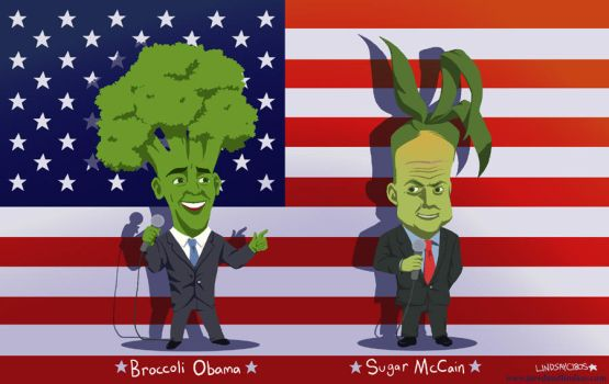 Broccoli Obama + Sugar McCain by peachfuzzmargins