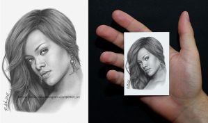 Miniature (ACEO) Rihanna drawing by petbet1