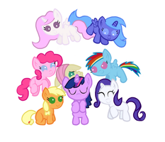 Mane 6 and Alicorn Foals by TheShadowStone