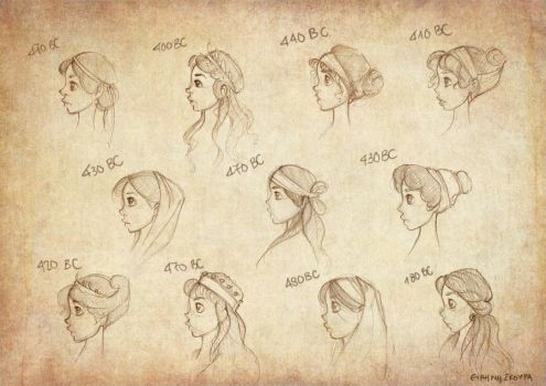 Ancient Greek Hairstyles by Ninidu