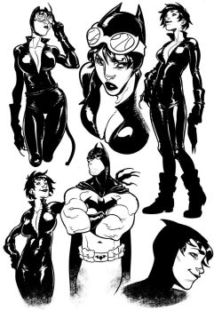 Catwoman sketches by Lilli92WGMC