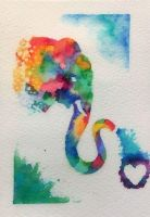 Elephant Rainbows - Watercolors by ColaChu