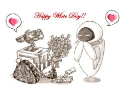 WALL-E and EVE White Day by AnimeChick4DDR