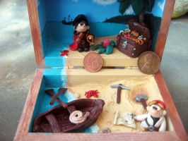 Polymer clay diorama Pirate's tiny chest by SelloCreations