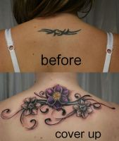 Tribal Cover up Tattoo Flowers by 2Face-Tattoo