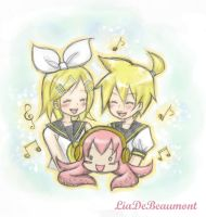 Kagamine twins and Luka by LiaDeBeaumont
