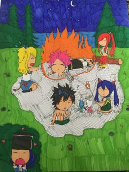 Chibi campfire (Fairy Tail) by PorpleTortle