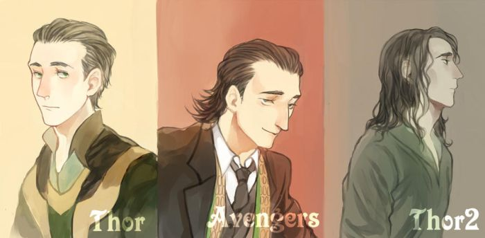 evolution of loki's hair style by MuQie