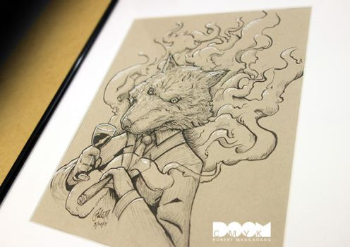Original Wolf pen and pencil drawing by DoomCMYK