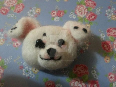 Needle felted American Bulldog puppy face by StrawberryGumiho