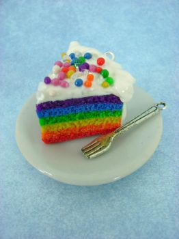 Rainbow Cake - Polymer Clay by monsterkookies